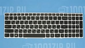 Клавиатура для ноутбука Lenovo G50-30, S500, Z50-70 с серебристой рамкой и подсветкой