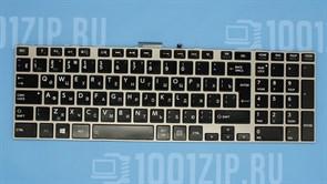 Клавиатура для ноутбука Toshiba C50, C70, L850 черная с серой рамкой, с подсветкой