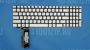Клавиатура для ноутбука Asus N550,  N56VJ, N56VM серебристая с подсветкой